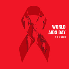 World map picture with sign of AIDS for 1 of December
