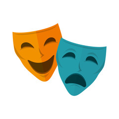 drama and comedy mask. happiness and sadness faces. vector illustration