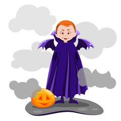 the boy vampire with wings, smiling pumpkin glowing, Vector design for app user interface,vector illustration