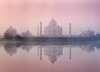 Taj Mahal in morning fog, Agra, India Wall mural