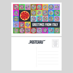 Italy, Rome vector postcard design with Italian pizza