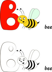 Letter B, Bee Illustration