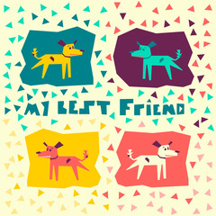 Flat vector illustration with my best friend. Cute, pretty doggy or puppy.