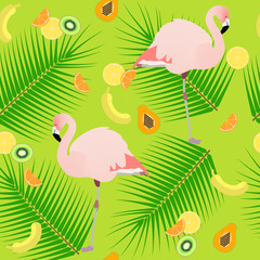 Seamless texture , flamingos on a green background , fruits , ve