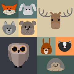 Animals of the forest , a set of different animals of the forest