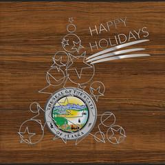 Albero Natale  Happy Kolidays  in acciaio e legno Alaska