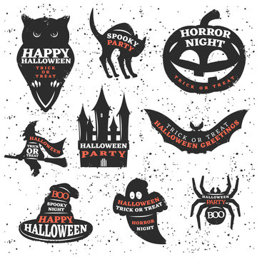 Halloween Elements And Quotes Set
