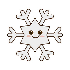 winter cute snowflake kawaii cartoon with happy face smiling. vector illustration