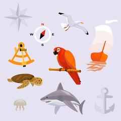 set of tropic sea travel icons