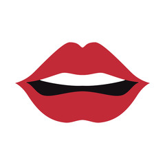 mouth with red lips  sensual expression cartoon. vector illustration