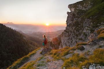 Wall Mural - Nockstein Wanderung - Salzburger Land mit Sonnenuntergang