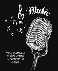 Hand drawn vintage microphone vector illustration