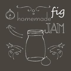Chalkboard with jar of fig jam