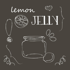 Chalkboard with jar of lemon jelly