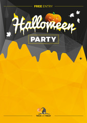 Vector Halloween Party illustration. Modern poster with pumpkin and bats on black, yellow background.
