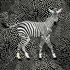 Abstract draw  zebra in the savannah, fashion striped  polka dot print