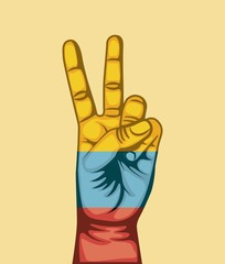 colombian peace hands symbol vector illustration design