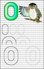 Educational page with alphabet letter O on a square paper. Developing skills for writing and drawing. Vector image.