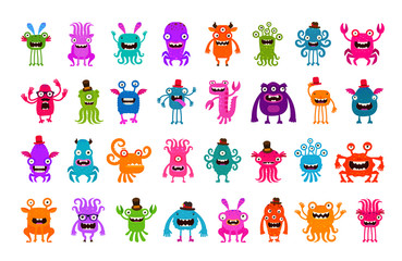 Vector set of cartoon cute monsters