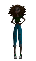 Raster Colorful Black Teen Fashion Illustration with a Black African or Hispanic Kid, Curly Hair, Wearing Jeans, Crop Top and Sneakers