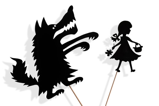 Little Red Riding Hood and Big Bad Wolf shadow puppets