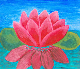Pink waterlily, oil painting