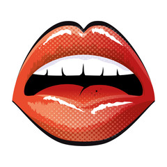 mouth with red lips sensual sexy expression cartoon. vector illustration