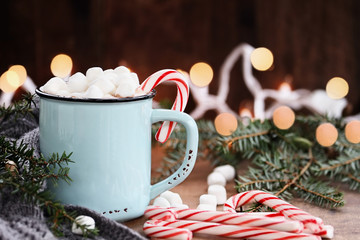 Hot Cocoa with Marshmallows and Candy Canes