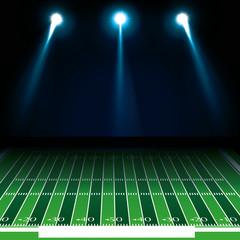 american football green field camp with white lights. vector illustration