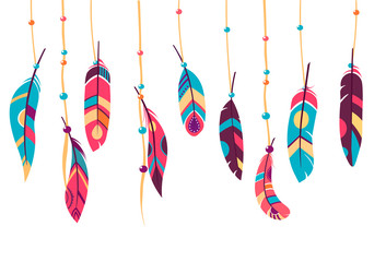 Feathers. Vector Set of Ethnic feathers, Tribal. bright background, illustration , dark and light feathers, boho design