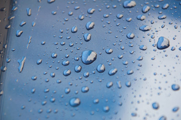 drops of water-repellent surface in Blue & white