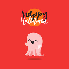 Halloween, funny cartoon characters ghost. Doodle cute characters for holiday happy Halloween. Icons mythical creatures. Isolated vector illustration