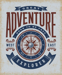 Vintage Great Adventure Typography. T-shirt and label graphics in woodcut style.