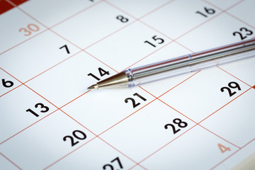 Penna a sfera su calendario