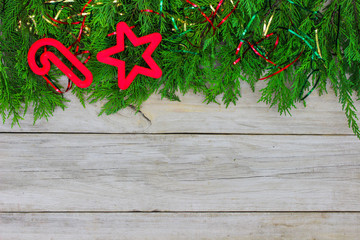 Blank wood sign with holiday decorations border