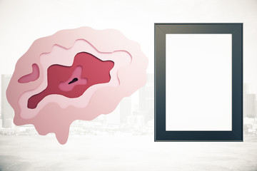 Brain and frame on city background