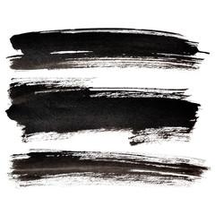 Set of black brush strokes