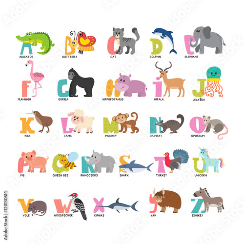 Cute cartoon animals alphabet from a to z stock image and royalty cute cartoon animals alphabet from a to z altavistaventures Images