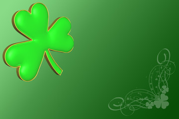 A clover on a green background with various decorations