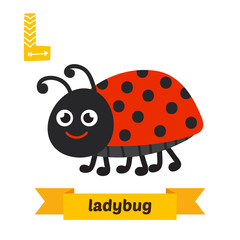 Ladybug. L letter. Cute children animal alphabet in vector. Funn