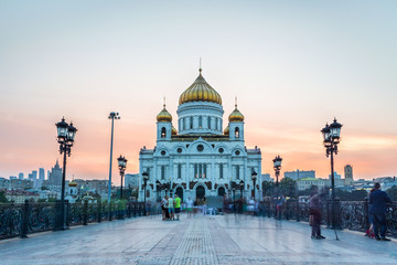 The Cathedral of Christ the Savior in Moscow. View from Patriarshy bridge