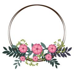 vintage flowers frame decoration with green leaves. vector illustration