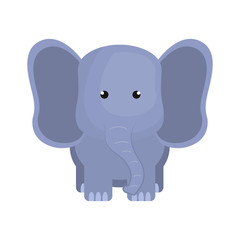 purple elephant animal character cute cartoon. vector illustration