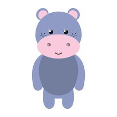purple hippopotamus animal character cute cartoon. vector illustration