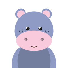 purple hippopotamus animal character cute cartoon. vector illustration