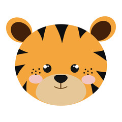 yellow tiger  animal character cute cartoon. vector illustration