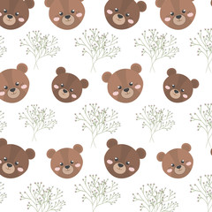 brown bear animal character cute cartoon and branches background . vector illustration