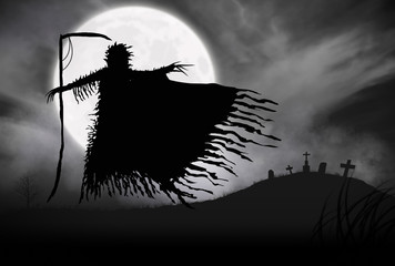 Illustration - Silhouette of a Grim Reaper or fantasy evil spirit in a graveyard at night with a full moon. Good for background. Digital painting.