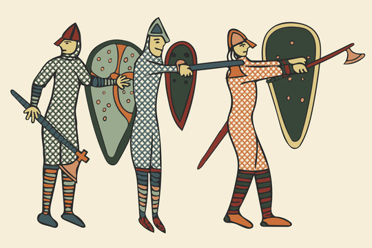 Hand drawn illustration of Norman soldiers around the time of the invasion of England in 1066.