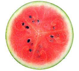 A half of fresh watermelon isolated on white background